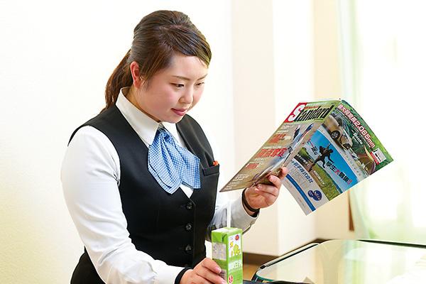 休憩室では雑誌を読んだりして のんびり。豆乳にはまっています。